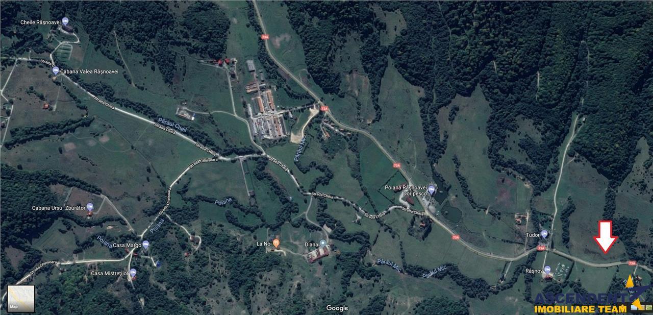 In frumoasa zona turistica Rasnov   Paraul Rece, 1.600 mp teren  la DN 73 A  in